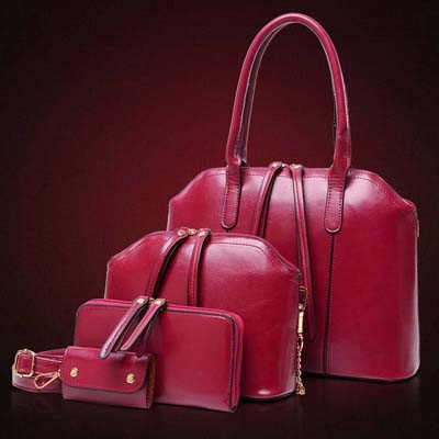 6763 4 in 1 Elegant Handbag (Maroon)