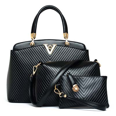 Elegant V 3 in 1 Handbag (Black)